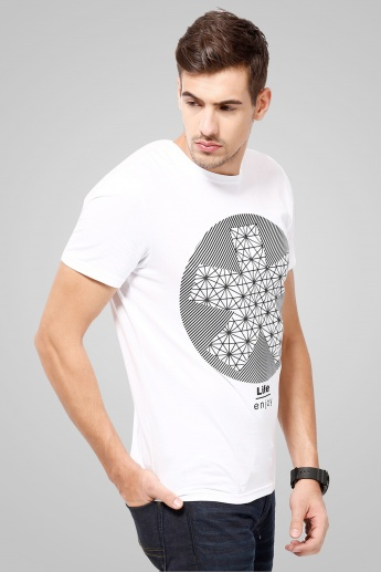 CELIO Printed Round Neck T-Shirt