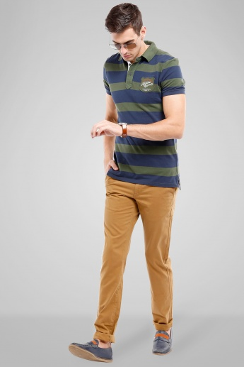 CELIO Striped Polo Neck T-Shirt