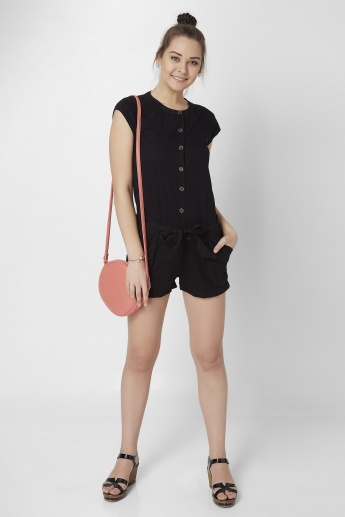 GINGER Solid Pocketed Playsuit