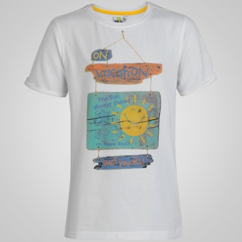 SMILEY WORLD Crew Neck Funky Print T-Shirt