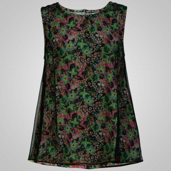 SMILEY WORLD Net Overlay Floral Print Top
