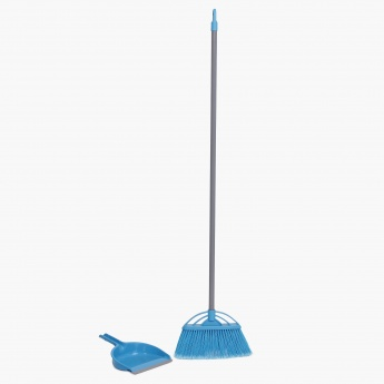 HOME CENTRE Indus Long Hair Brush With Dustpan And Handle