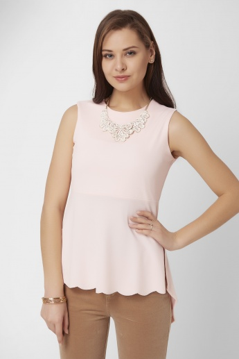 CODE Sleeveless High Low Peplum Top
