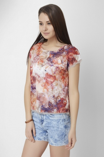 CODE Printed Short Sleeves Top