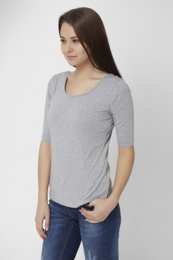 GINGER Solid Half Sleeves Top