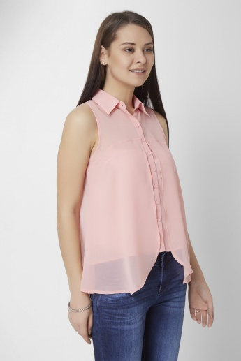 GINGER Solid Asymmetric Hem Shirt