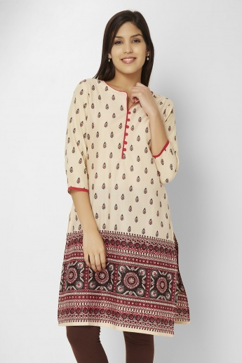 MELANGE Printed 3/4th Sleeves Kurti