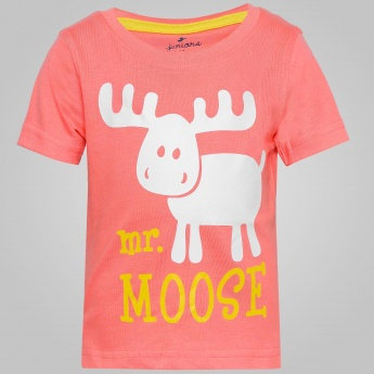 JUNIORS Mr. Moose Print T-Shirt