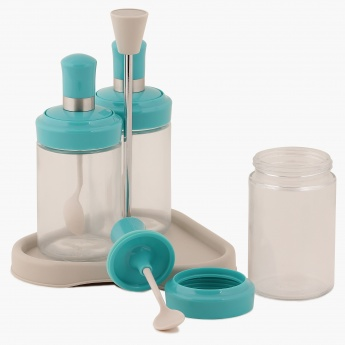 HOME CENTRE Mirage Condiment Serving Set With Stand- 4 Pcs.