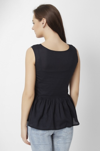 GINGER Sleeveless Peplum Top
