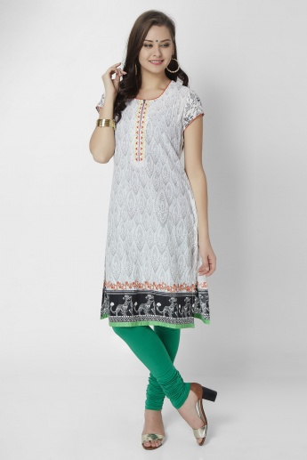 BIBA Printed Zip-Up Neck Kurti