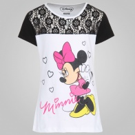 KIDSVILLE Minnie Mouse Print Lace Detail Top