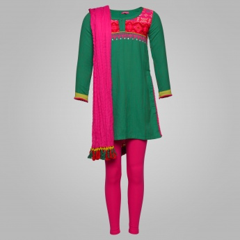 BIBA Bright Ethnicity Churidar Kurti Set