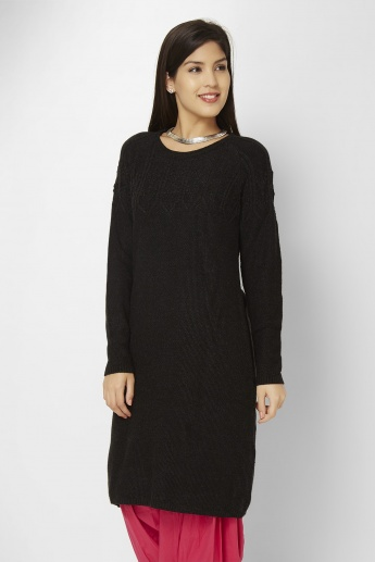 W Solid Knitted Kurti