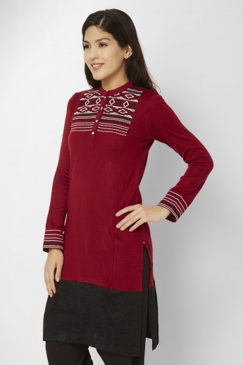W Band Collar Full Sleeves Kurti
