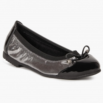 RAW HIDE Bow Detail Metallic Ballerinas