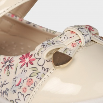 JUNIORS Floral Print Mary Jane Ballerinas