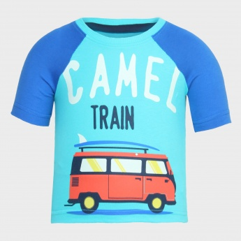 JUNIORS Raglan Sleeves Printed T-Shirt
