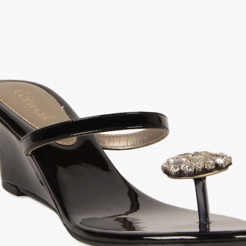 CATWALK Faux Crystal Patent Finish Wedges