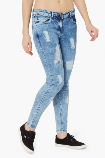 GINGER Acid Wash Ripped Jeans
