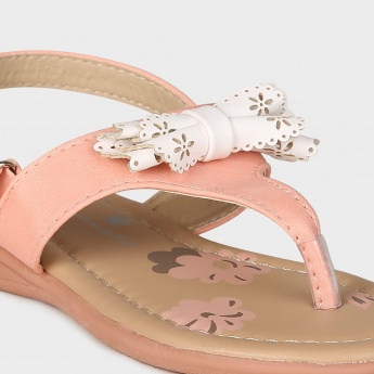 JUNIORS Bow Detail Velcro Closure Sandals