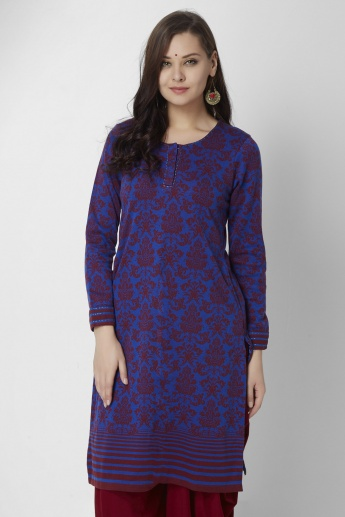 BIBA Round Neck Full Sleeves Kurti