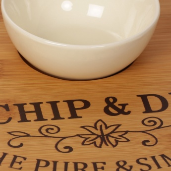 HOME CENTRE Beautiful Home Bamboo Chip And Dip With Ceramic Bowl