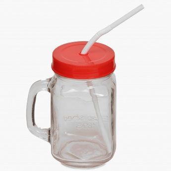 HOME CENTRE Peroni Mason Jar With Lid Straw - 420 ml