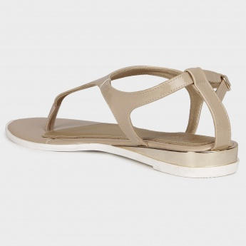 GINGER Glossy Flat Sandals