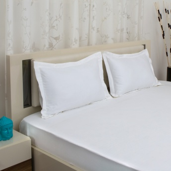 HOME CENTRE Marshmallow Combed Cotton King Bedsheet Set