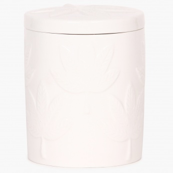 HOME CENTRE Redolance Embossed Ceramic Jar Candle - 8 CM