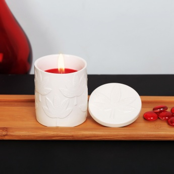 HOME CENTRE Redolance Maple Embossed Ceramic Jar Candle - 8 x 8 cm