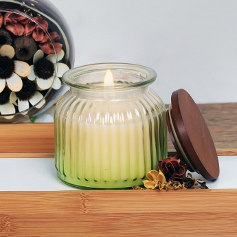 HOME CENTRE Redolance Forest Mist Ombre Glass Jar Candle - 10.5 X 12 CM