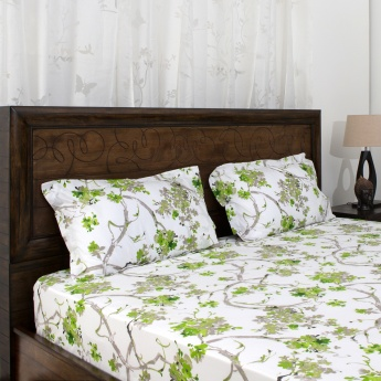 HOME CENTRE Mandarin Carnosa Printed Double Bed Sheet Set