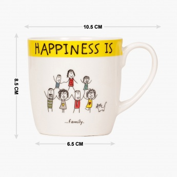 HOME CENTRE Happiness Doodle Inscribed Mug
