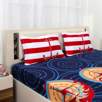 PORTICO ELDORA Nautical Print Super King Size Bedsheet And Pillow Cover Set