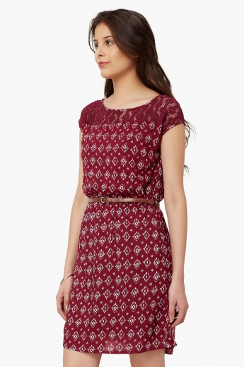 BOSSINI Printed Belted Dress