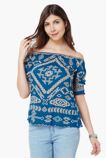BOSSINI Aztec Print Off-Shoulder Top