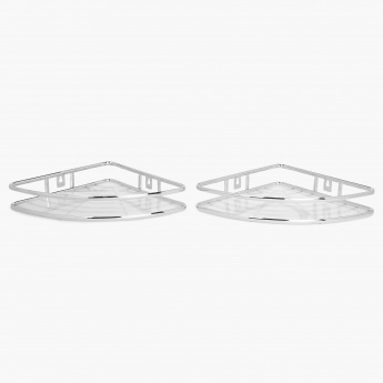 HOME CENTRE Burlington Single Tier Corner Shower Caddy Set- 2 Pcs.