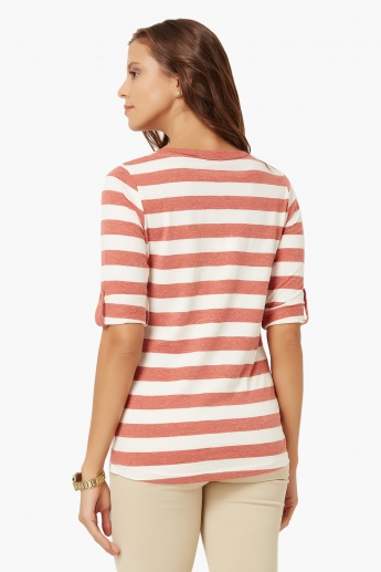 FAME FOREVER Striped Button Placket Top