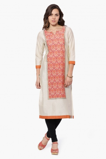MELANGE Printed Round Notch Neck Kurta