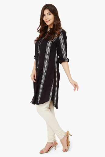 MELANGE Roll-Up Sleeves Shirt Kurti