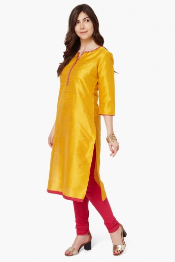 MELANGE Mirror Work  3/4th Sleeves Kurta