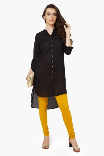 MELANGE Solid Hi-Low Kurta