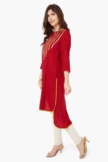 MELANGE Embroidered Hi-Low Kurta