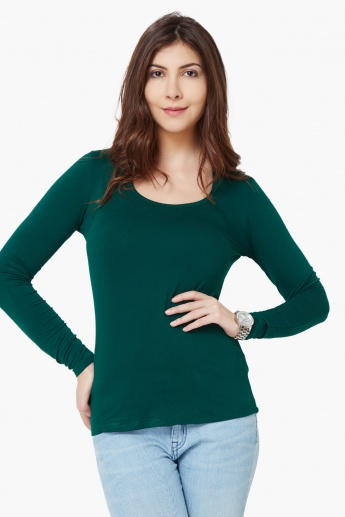 CODE Solid Full Sleeves Top