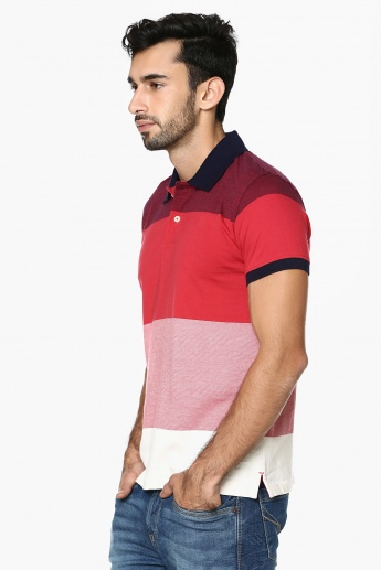 CODE Striped Polo Neck T-Shirt