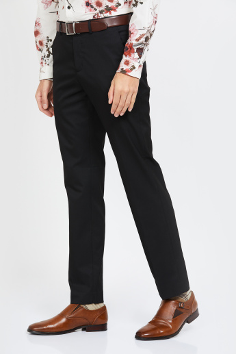 CODE Solid Flat Front Formal Trousers