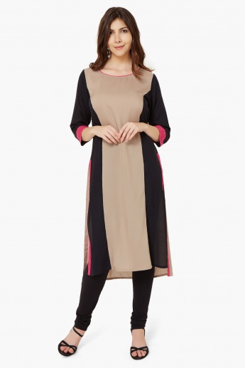 MELANGE Round Neck 3/4th Sleeves Kurta