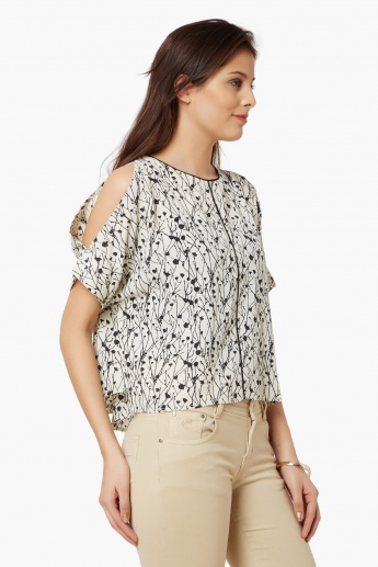 CODE Printed Cold Shoulder Blouse
